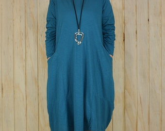 Ladies Lagenlook Plus Size Tunic Dress Parachute Boho Quirky Uk 14 16 18 20 22 24 26/US 12 14 16 18 20 22 24 TEAL  XL N38