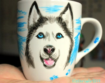 Mug  Husky, Custom Tea Mug, Hand Painted