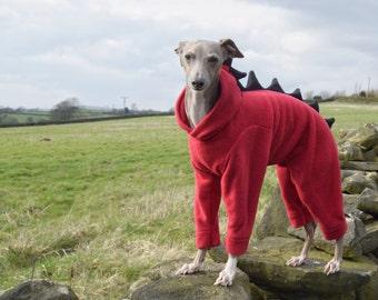 Dinosaur Fleece Onesie for Italian Greyhounds