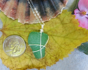 Green sea glass long necklace wrapped in silver wire, beach glass necklace