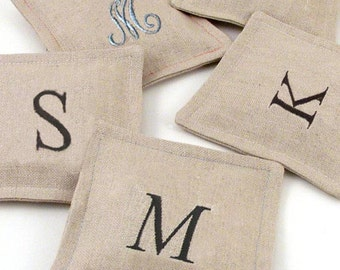 Personalized Linen French Lavender Sachet // Monogrammed Lavender Sachet // Bridesmaid Gift Lavender Sachet