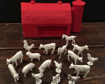 1950's Gay Farm barn carrier and plastic animals