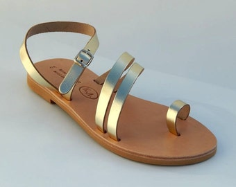 Greek Leather Sandals (40 - Gold)