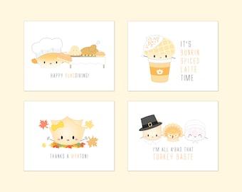 SALE // CARD SET - 8 Dimsum Thanksgiving Cards [Thank You Cards, Fall Card Set, Happy Thanksgiving, Punny Thanksgiving Cards, Autumn]