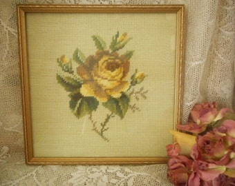 Framed Yellow Gold Rose Spray Tapestry Piece