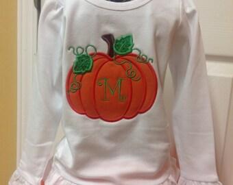 Cute little Pumpkin Applique w/Mongram