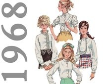 1960s Blouse Pattern, Simplicity 7712 sz 10 b 30.5, Vintage Blouse, Ascot Blouse, High Neck Blouse, Stand Up Collar,Steampunk Blouse Pattern