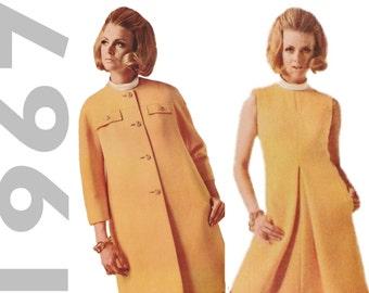 1960s Designer Dress, McCalls N1014 sz 12 b 32, New York Designers, 1960s Mod Dress, Inverted Pleat Dress, 1960s Coat Pattern, Mod Coat