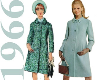 1960s Coat Pattern SIMPLICITY 6684 sz 12 b 32 UNCUT A-line Coat Vintage Coat Mod Coat Pattern Princess Seam Coat Dress Coat 60s Coat Pattern