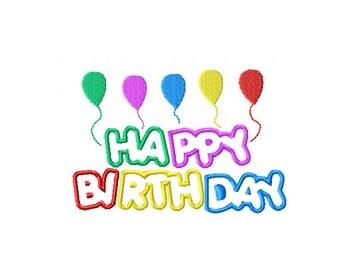 Happy Birthday Applique Pattern, Birthday Balloon Embroidery Design, Multicolored Happy Birthday Applique, Multicolored Birthday Balloon