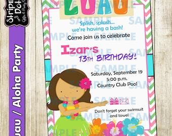 Luau Party Invitations-Hawaiian Invitations-Aloha Invitations