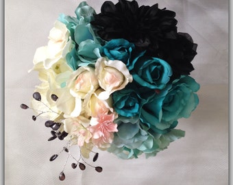 Turquoise and Black modern Bride bouquet