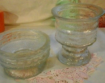 Two Rare Vintage E. O. Brody Clear Modern Crinkle Glass Planters Wedding Decor
