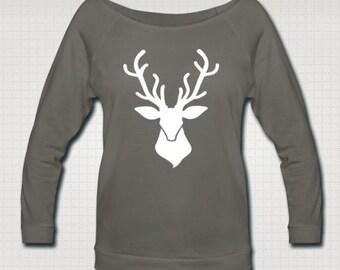 Deer Women's 3/4 Length Sleeve Boatneck Sweatshirt (Black and Gray)