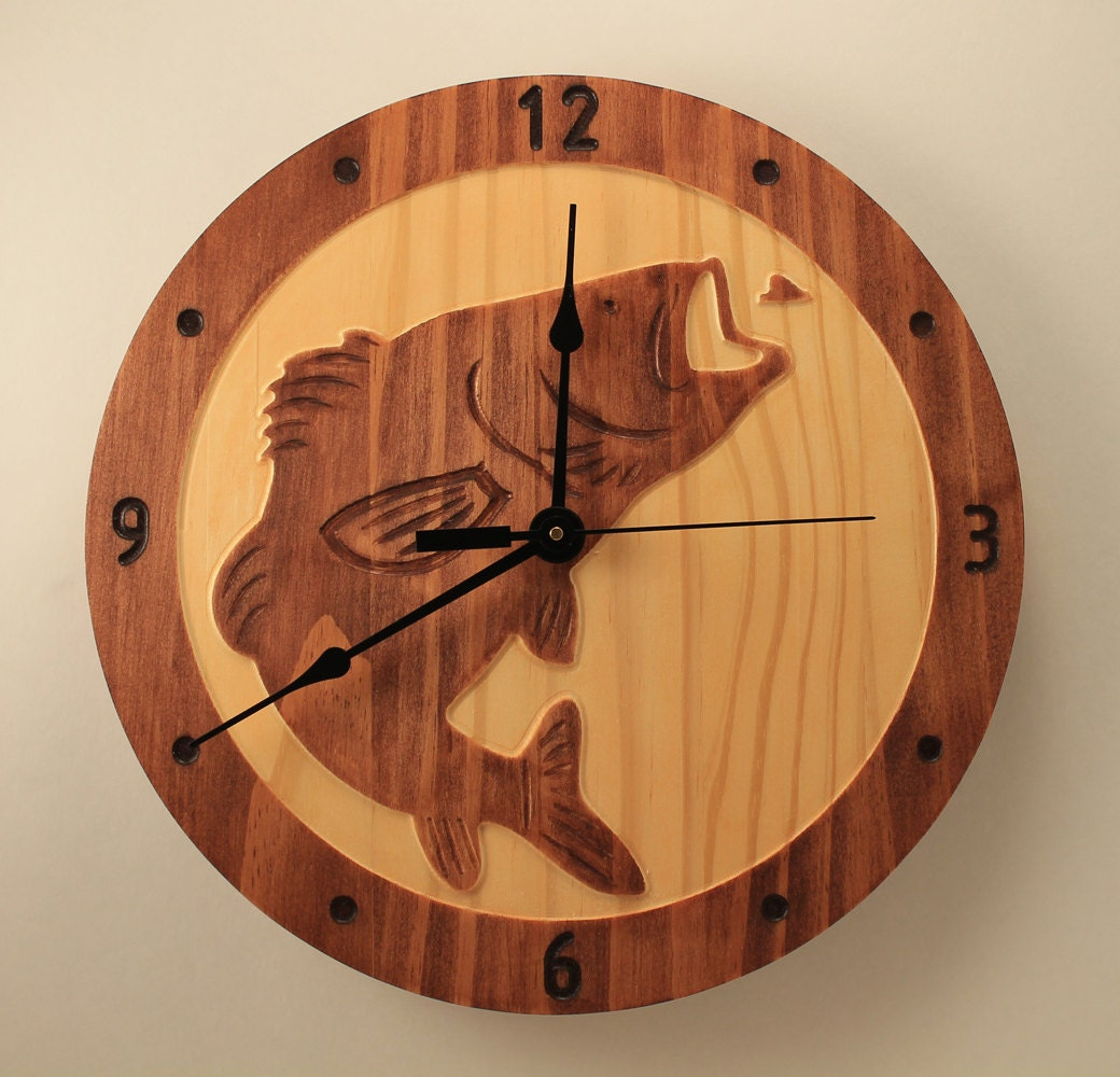 Pine bass clock fish clock wood clock wall clock wooden wall zoom amipublicfo Image collections