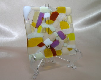 """Yellow, white and clear mixed with a hint of pink and purple fused glass dish tray 4""""x4"""""""