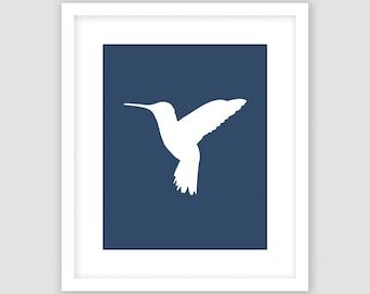 Hummingbird Print, Navy Blue, Bird Wall Art, Modern Art, Instant Download, DIY, Printable