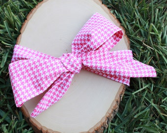 Hot Pink Houndstooth Head Wrap