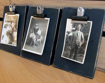 Black Painted Reclaimed Wood Photo Clip Holder Frame