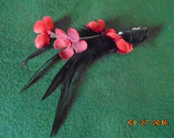 Red Flower and Black Feather Hair Clip
