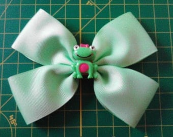 PROMOTION SALE!!! Mint Green Hair Bow with Smiling Frog Center