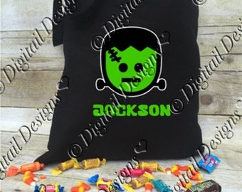 Personalized Frankenstein Halloween Tote Bag Trick or Treat Bag Halloween Treat Bag Frankenstein Treat Bag