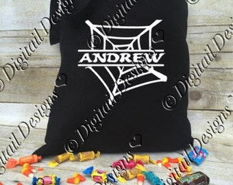 Personalized Web Halloween Tote Bag Trick or Treat Bag Halloween Treat Bag Halloween Treats Bag