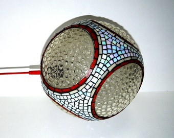 Mid-century globe pendant light with mosaics
