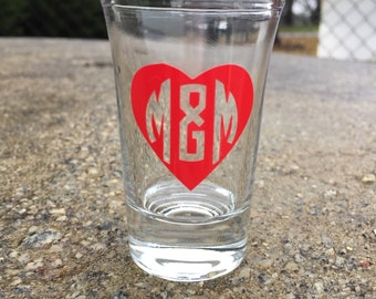 Custom Heart Couples Shot Glass Valentines Day Gift