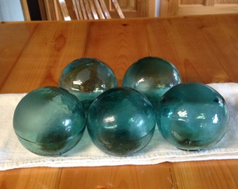 1 Antique Teal MOLDED Glass Float - Antique Fishing Net Glass Float - Glass Float - Antique Glass Floats - Buoy Balls - Glass