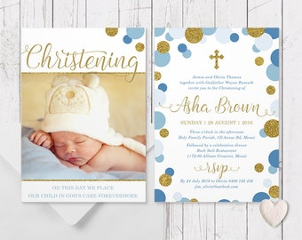 Blue and Gold Glitter Spots Christening Baptism Invitation, Free Colour Changes, Professionally Printed, Double Sided | Peach Perfect