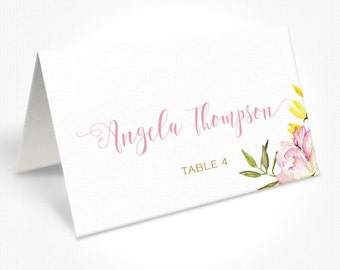 Pink Gold and Floral Wedding Place Cards, Romantic Modern Script Font, Free Colour Changes, DEPOSIT | Peach Perfect Australia