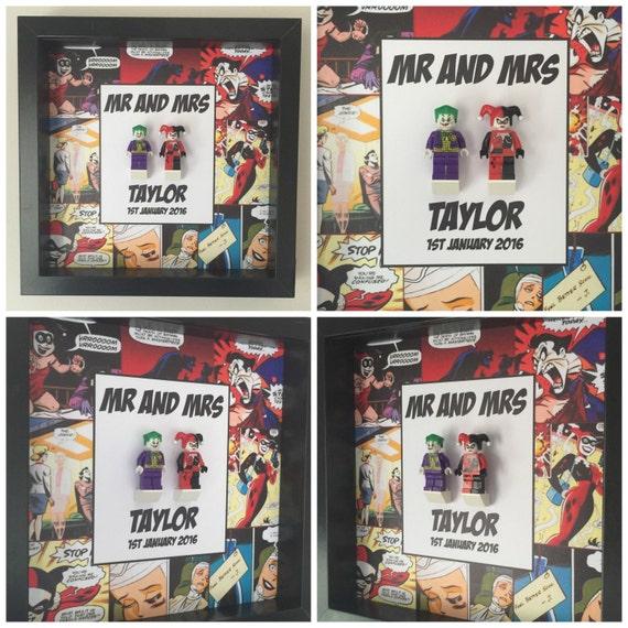 Harley Quinn And Joker Wedding Minifigure Frame, Mum, Gift, Geek, Box, Dad, Idea, For Her, For Him, Anniversary, Comic, Art