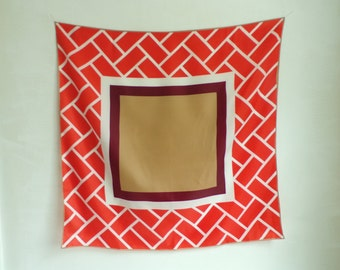 70s rain scarf, geometric scarf, color block scarf, ascot water resistant, totes 1970s scarf square scarf brown salmon pink