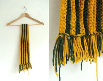hand knit scarf, acrylic scarf, striped scarf, yellow gren, fringe, handmade scarf, 80s scarf, fall scaf, winter scarf