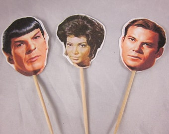 Star Trek Cupcake Toppers - Set of 24 cupcake Picks,  cupcake picks Double sided