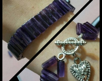 Amethyst Crystal Bracelet with Heart Clasp