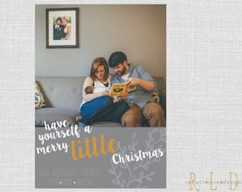 Merry Little Christmas Card With Photo Digital Printable File