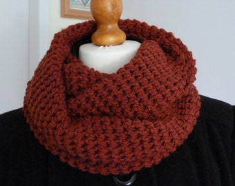 Russet red chunky infinity scarf hand crocheted in a wool and acrylic mix yarn