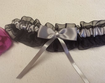 Black sheer organza garter, silver satin bow, wedding garter, prom garter, homecoming garter, custom garter, special occasion, gift