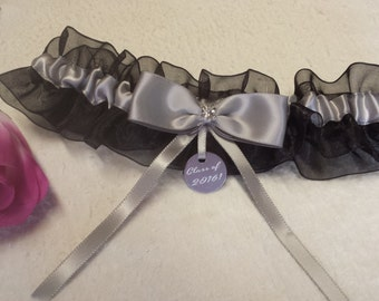Black sheer organza garter, silver satin bow, Class of 2016 charm, prom garter, homecoming garter, custom garter, special occasion, gift