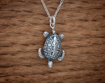 Sea Turtle Charm or Earrings - STERLING SILVER- Chain Optional