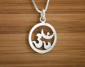STERLING SILVER Ohm Charm - Om Namaste Charm , Necklace or Earrings - Chain Optional