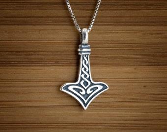 STERLING SILVER  Tiny Thor's Hammer Mjölnir Pendant  or Earrings My ORIGINAL -  Chain Optional