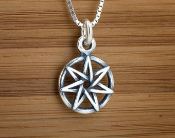STERLING SILVER Small Fairy Star Heptagram My ORIGINAL Charm or Earrings -Chain Optional