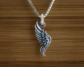STERLING SILVER Bird, Fairy or Angel Wing My ORIGINAL Charm or Earrings - Chain Optional