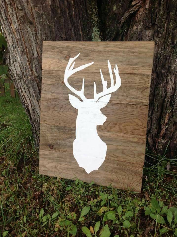 Large Deer Head Silhouette Wood Sign Buck Mount Wall Art