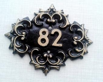 82 metal room number, eighty two vintage door number ussr