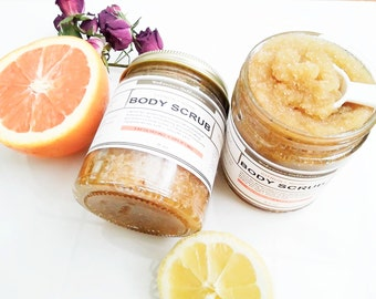 Citrus + Rose BODY SCRUB / Sugar Scrub / Body Scrub / Natural Body Scrub / ORGANIC body Scrub/ Vegan / Exfoliating / Soothing/ Smoothing