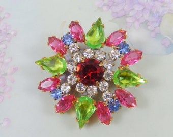 Gorgeous Vintage Rhinestone Flower Brooch Pin